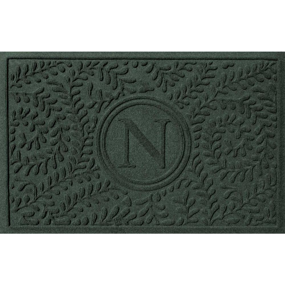 Bungalow Flooring Boxwood Evergreen 24 in. x 36 in. Monogram N Door Mat