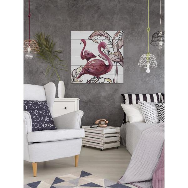 40 in. H x 40 in. W ''Pink Flamingo II'' by Marmont Hill Printed White Wood Wall Art