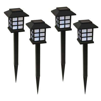 15 in. Solar Ground Stake Window Black (Set of 4)