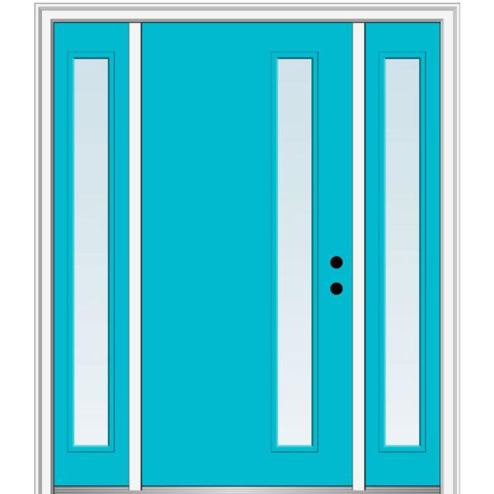 Mmi Door 64 5 In X 81 75 In Viola Left Hand Inswing 1 Lite Clear Low E Painted Fiberglass Prehung Front Door With Sidelites Z0348414l The Home Depot