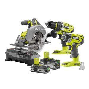 Ryobi 18-Volt ONE+ Cordless Lithium-Ion Brushless 3-Tool Combo Kit with Circular Saw w/Batteries and Charger by Ryobi