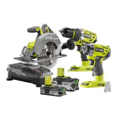 18-Volt ONE+ Cordless Lithium-Ion Brushless 3-Tool Combo Kit with Circular Saw w/Batteries and Charger
