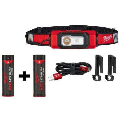 600 Lumens LED USB Rechargeable 360-Degree Visibility Hard Hat Headlamp with Free REDLITHIUM USB Battery