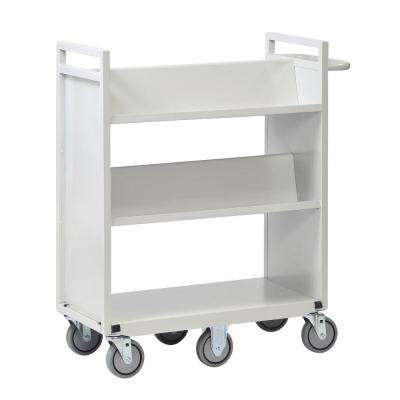 36 in. W Sloped 3-Shelf Cart with 6-Wheels