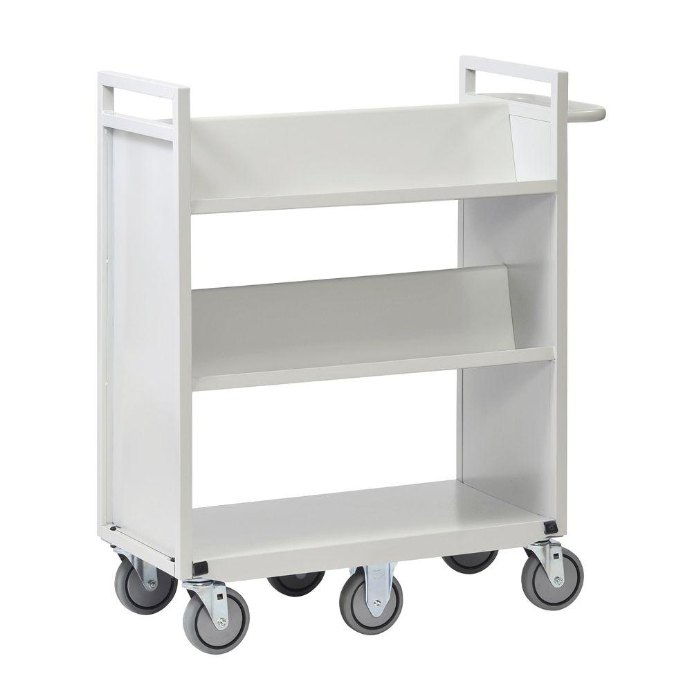 Buddy Products 36 in. W Sloped 3-Shelf Cart with 6-Wheels
