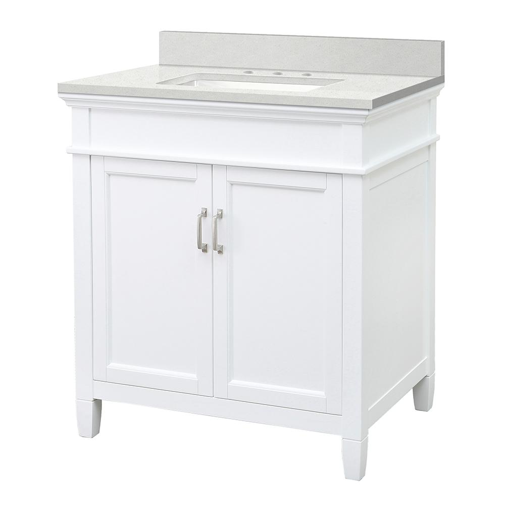 Home Decorators Collection Ashburn 31 in. W x 22 in. D Vanity Cabinet in White with Engineered Marble Vanity Top in Snowstorm with White Basin was $560.0 now $392.0 (30.0% off)