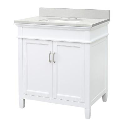 Ashburn 31 in. W x 22 in. D Vanity Cabinet in White with Engineered Marble Vanity Top in Snowstorm with White Basin