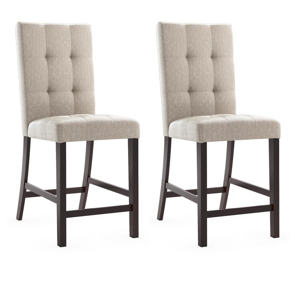 Corliving Bistro Platinum Sage Tufted Fabric Counter Height Dining Chairs Set Of 2