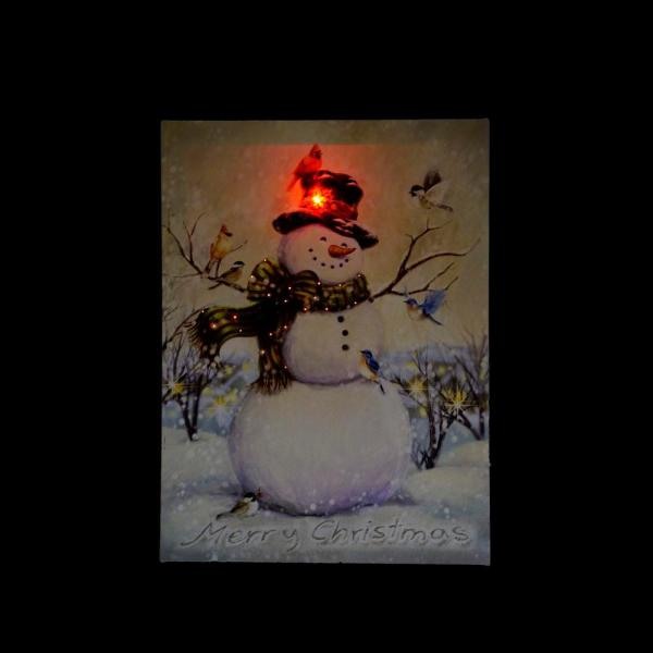 15 75 in  x 12 in  LED Lighted Vintage Inspired Snowman and Birds Christmas  Canvas Wall Art
