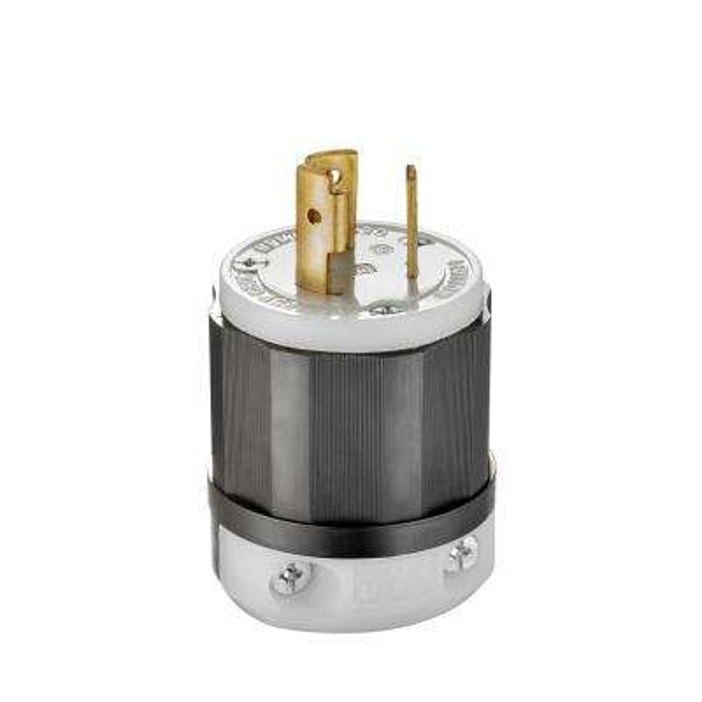 20 Amp 125-Volt Locking Plug, Black and White