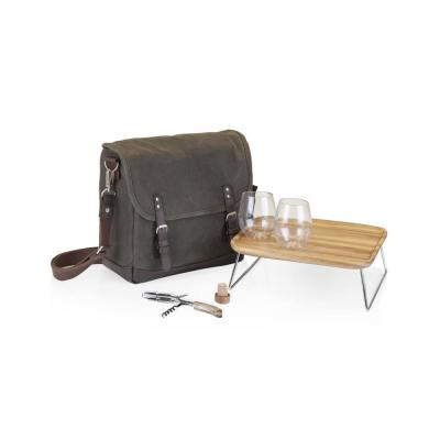 Adventure Khaki Green with Brown Wine Tote