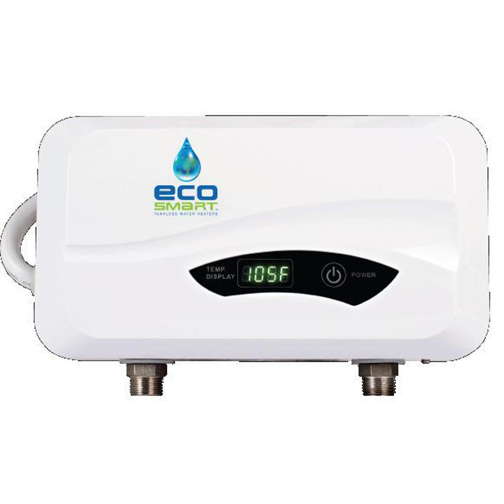 EcoSmart 5.5 kW 1.0 GPM Point-of-Use Electric Tankless Water Heater ...