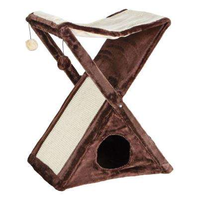 Brown/Beige Miguel Fold-and-Store Cat Tower