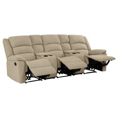 3-Seat Wall Hugger Recliner Sofa with Two Storage Consoles and USB Ports in Barley Tan Plush Low-Pile Velvet