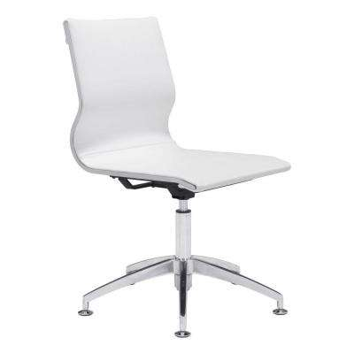 Glider White Leatherette Conference Office Chair