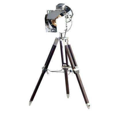 Ansel Tripod 31.5 in. Chrome and Brown Floor Lamp