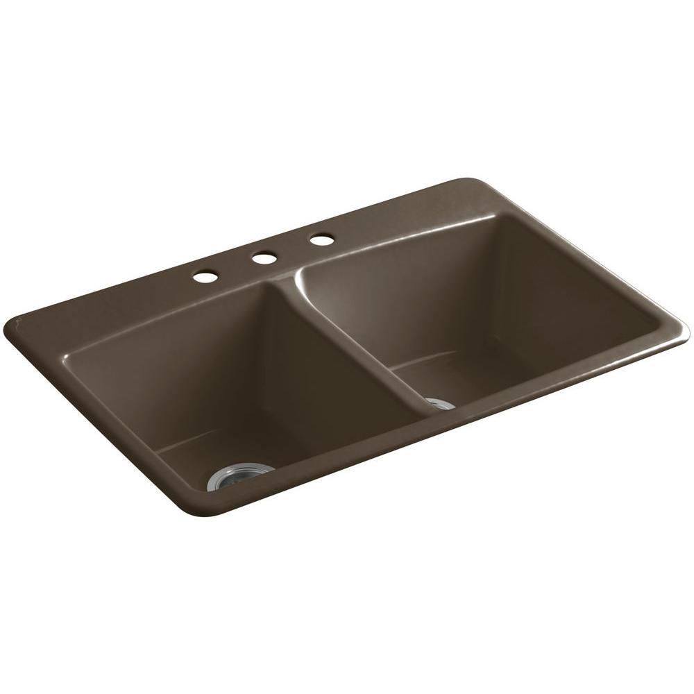 Brookfield Drop-In Cast-Iron 33 in. 3-Hole Double Bowl Kitchen Sink in