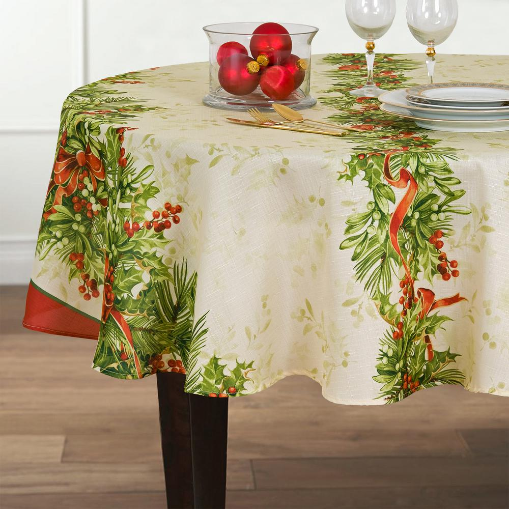Christmas Tablecloths.70 In Round Multi Elrene Holly Traditions Double Border Polyester Fabric Tablecloth