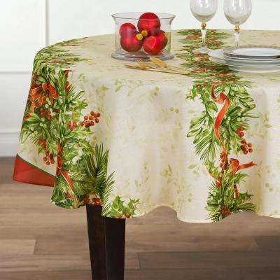 70 in. Round Multi Elrene Holly Traditions Double Border Polyester Fabric Tablecloth