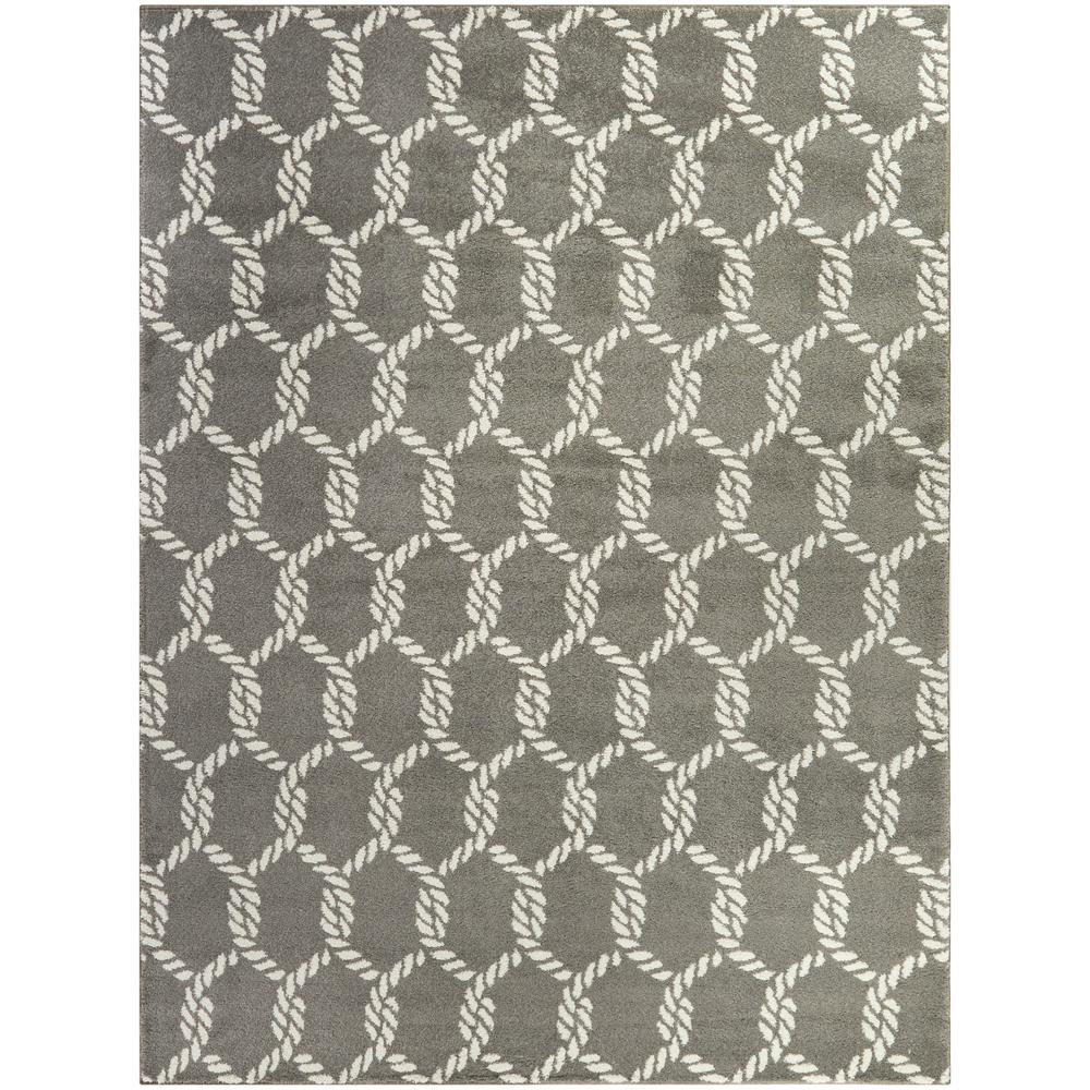 Portman Grey 5 Ft X 7 Ft Nautical Trellis Area Rug 3091554 The Home Depot