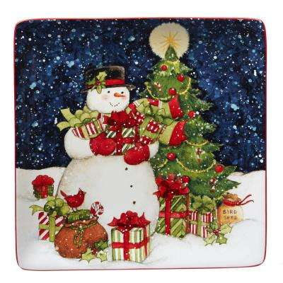 Starry Night Snowman by Susan Winget 12.5 in. Square Platter