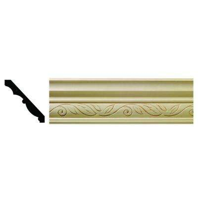 1612 1/2 in. x 3-3/4 in. x 6 in. Hardwood White Unfinished Clean Scroll Crown Moulding Sample