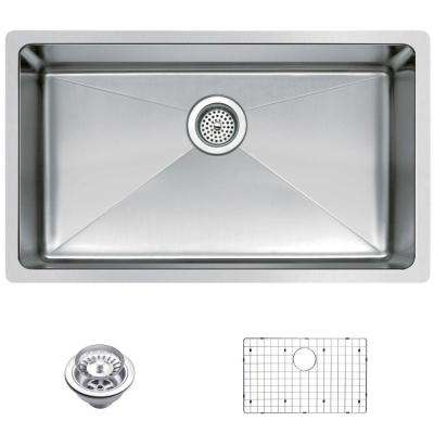 Undermount Small Radius Stainless Steel 30.in 0-Hole Single Bowl Kitchen Sink with Strainer and Grid in Satin Finish