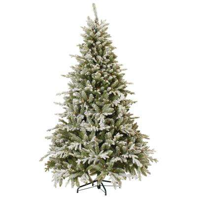 7.5 ft. Indoor Pre-Lit Snowy Cambridge Fir Artificial Christmas Tree with Clear Lights