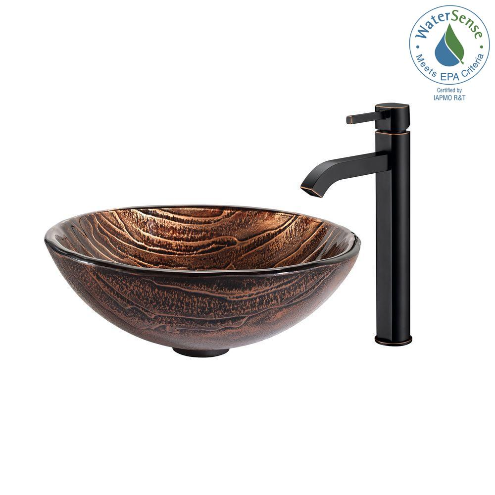 Gaia Glass Vessel Sink in Brown with Ramus Faucet in Oil