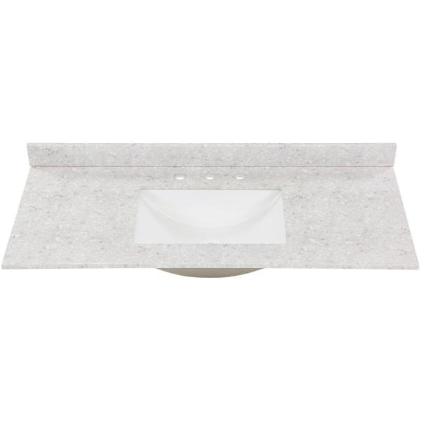 49 in. W x 22 in. D Stone Effect Vanity Top in River Stone with White Sink