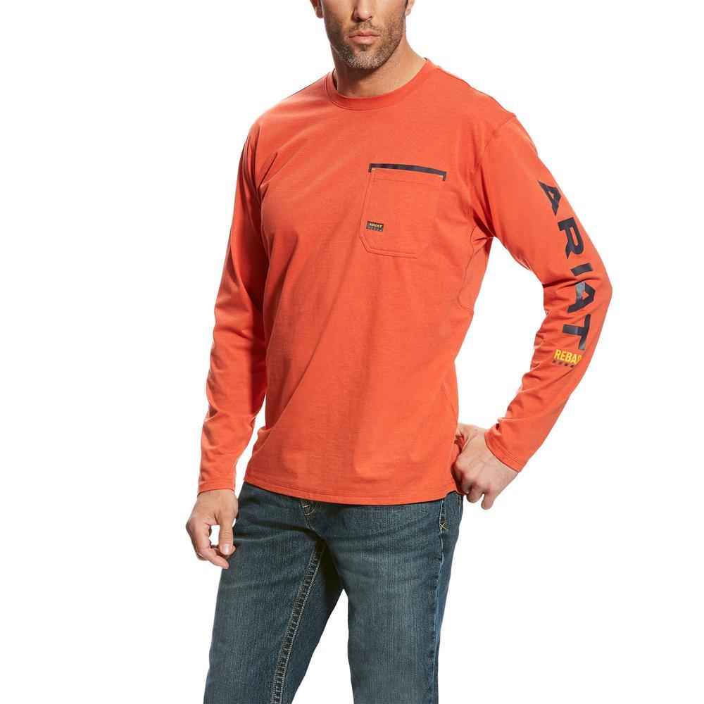 1cb953d3dbb8 Men's Size 3X-Large Tall Volcanic Orange Rebar Logo Long Sleeve Work T-Shirt