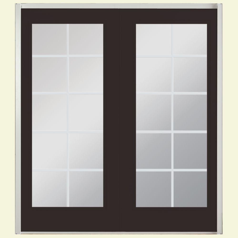 72 in. x 80 in. Willow Wood Prehung Right-Hand Inswing 10 Lite Fiberglass Patio Door with No Brickmold in Vinyl Frame