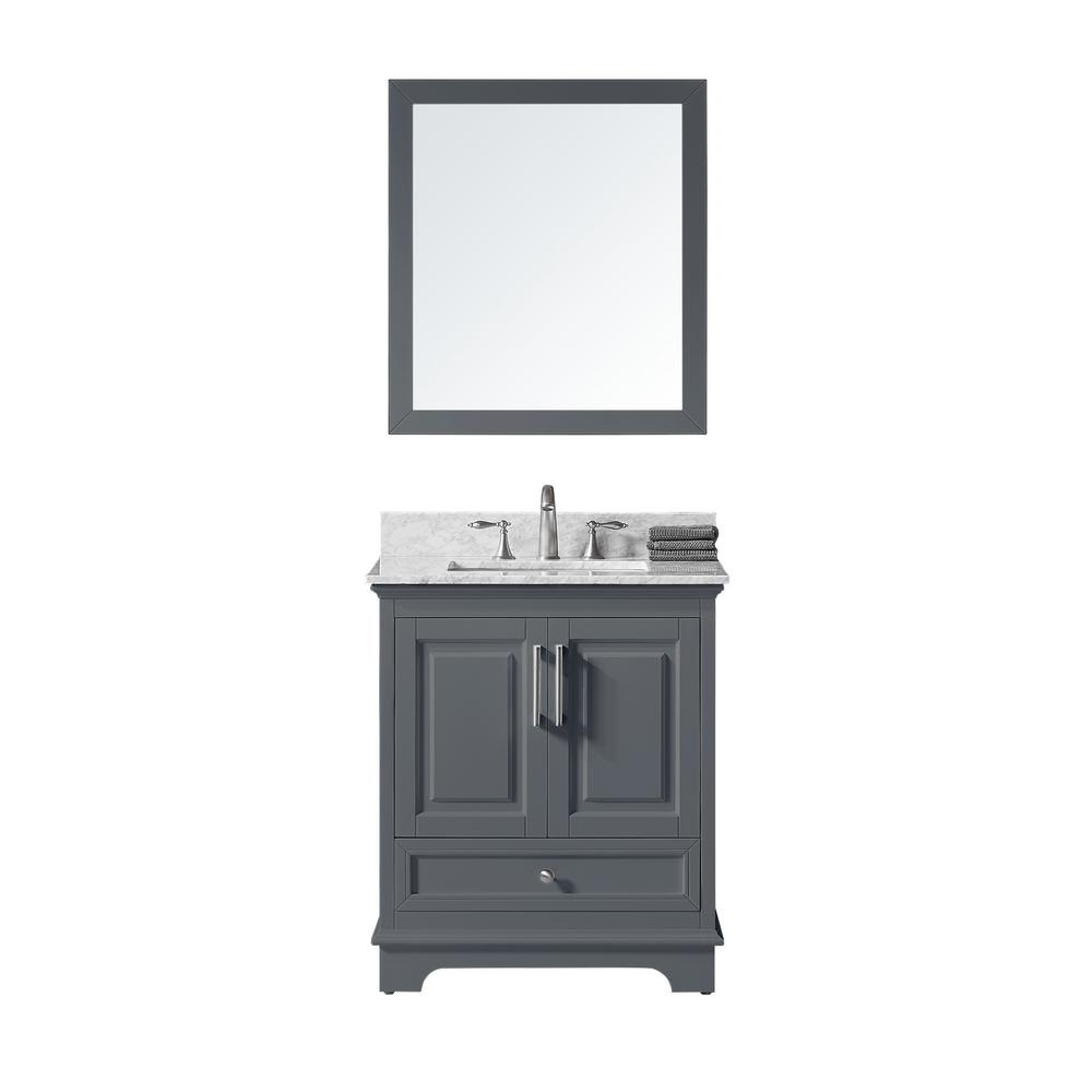 Exclusive Heritage McAuley 30 in. W x 22 in. D x 34.57 in. H Bath Vanity in Cashmere Greyw/Marble Vanity Top in Whitew/White Basin & Mirror