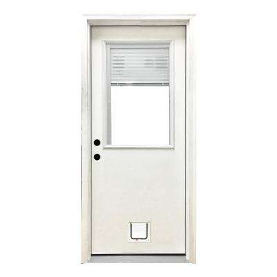 32 in. x 80 in. Classic Clear Mini-Blind RHIS White Primed Fiberglass Prehung Front Door with Small Cat Door