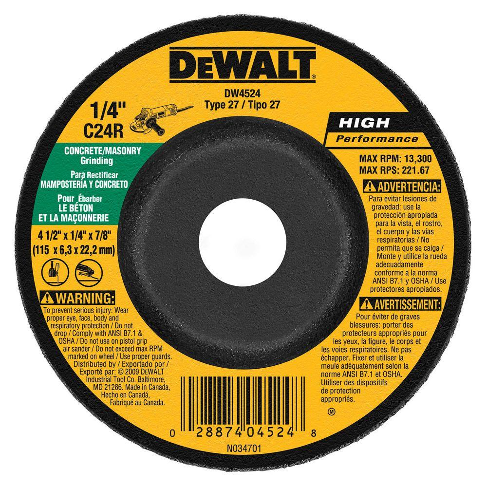 "4.5/"" x 7//8/"" x 1//16/"" 10 pcs for DeWalt Cut Off Cutting Wheel 60 Grit 13300 RPM"