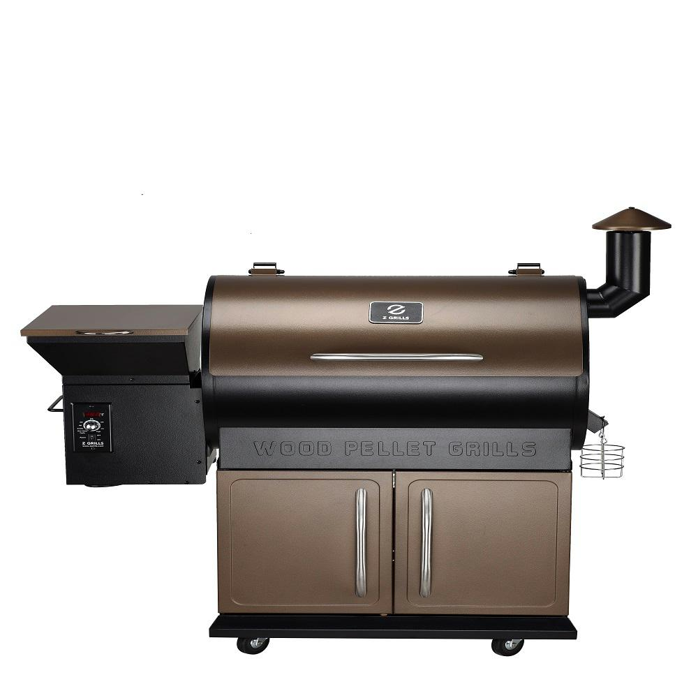 Z Grills Master Pellet Grill and Smoker in Bronze The Next Generation 8-in-1 Grill and Smoker. Z Grills wood pellet technology gets you wood fire flavor at the same convenience of propane or gas. Super easy cooking even for beginners: Electronic auto-start ignition, Digital Auto temperature Control and Real-time LED temperature display. Digital temperature control automatically adds pellets as needed to regulate the temperature. Total rack surface area 700 sq. in. 20 lbs. Hopper Capacity. Color: Bronze.