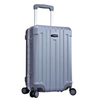 20 in. Silver Hardside ABS Rolling Vertical Carry-on with Aluminum Frame and TSA Combination locks