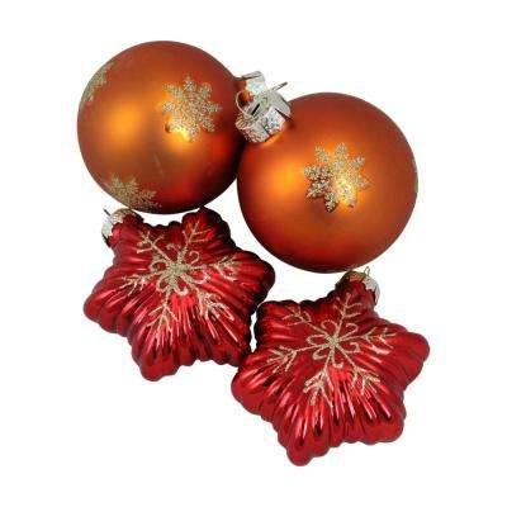 Shiny Orange Ball Design Glass Christmas Ornament Set