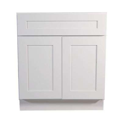 Brookings Plywood Ready to Assemble Shaker 27x34.5x24 in. 2-Door 1-Drawer Base Kitchen Cabinet in White