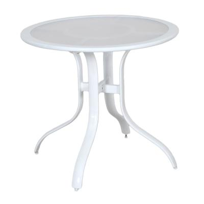 30 in. Commercial Aluminum Round Outdoor Patio Acrylic Top Bistro Table in White