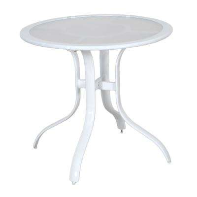 Commercial Aluminum 30 in. Round Outdoor Acrylic Top Bistro Table in White