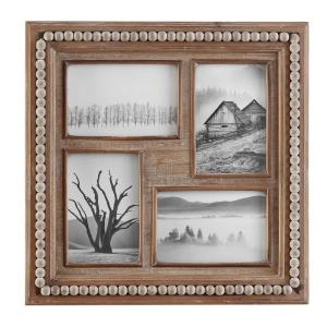"""4"""" x 6"""" Natural Beaded Wood 4-Opening Picture Frame"""