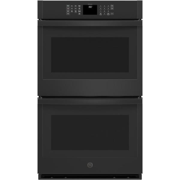 30 in. Smart Double Electric Wall Oven Self-Cleaning with Steam in Black