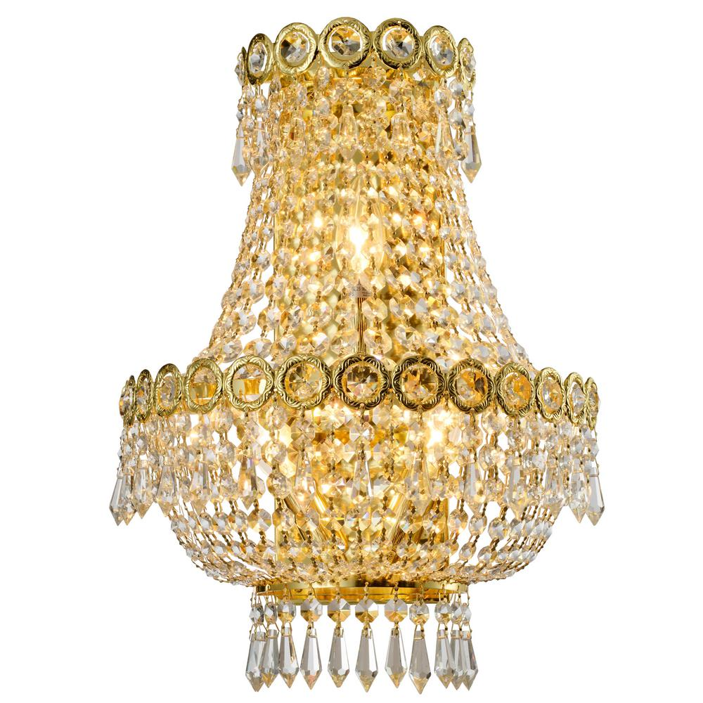 Worldwide Lighting Empire 12 in. Gold Crystal Wall Sconce
