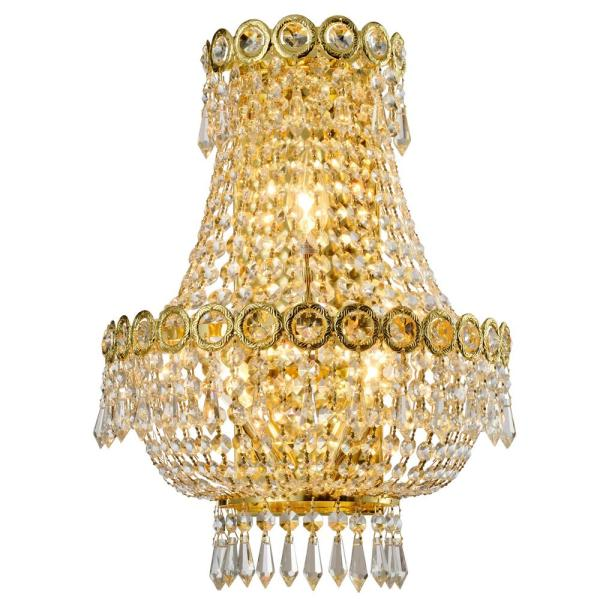 Worldwide Lighting WS410MG12-CM Paris Collection 2 Light Matte Gold Finish with Clear and Golden Teak Crystal Wall Sconce W12H6 x Small