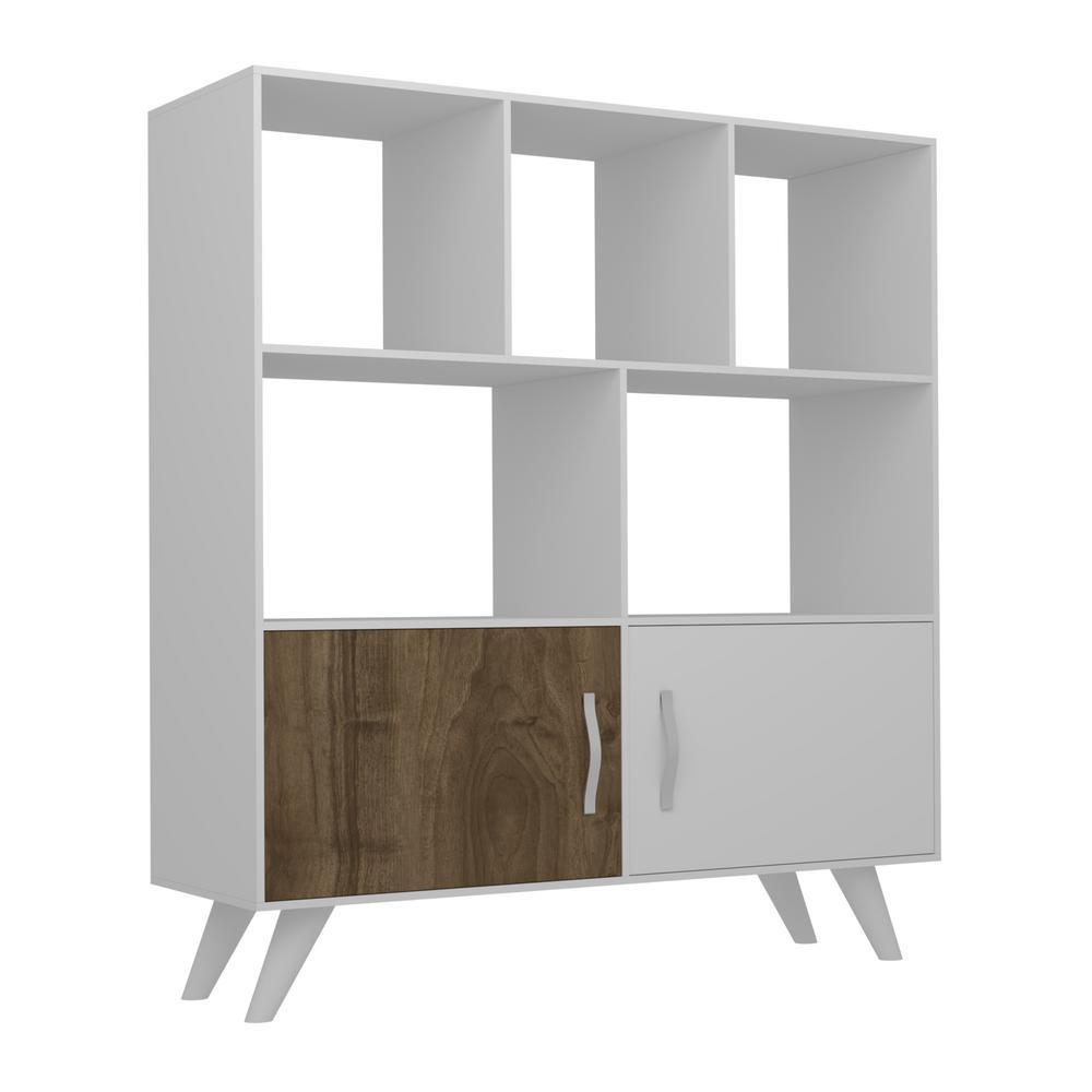 Besly White and Walnut Modern Bookcase