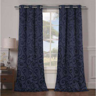 Semi-Opaque Lewis 84 in. L Grommet Panel in Indigo (2-Pack)