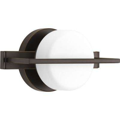 Volo Collection 9-Watt Antique Bronze Integrated LED Bathroom Vanity Light with Glass Shades