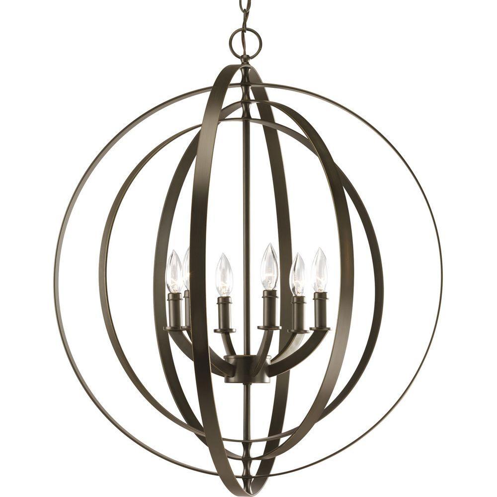 Progress Lighting Equinox Collection 6-Light Antique Bronze Orb Pendant
