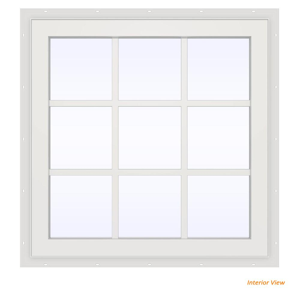 JELD-WEN 35.5 in. x 29.5 in. V-2500 Series Brown Painted Vinyl Fixed Picture Window with Colonial Grids/Grilles